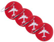BSWolf Leather Luggage Bag Instrument Tag Cirlce (red fresh 4 pcs set)