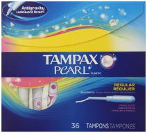 Tampax Pearl Plastic Fresh Scent Tampons, Regular Absorbency, 36-Count (Pack of 6)