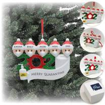 Medistealth.com 2020 Christmas Ornament   Saying Goodbye to Quarantine 2020   Personalized Multiple Family Member Christmas Ornament   2,3,4,5,6,7 Heads   Black or White (Family of 5)