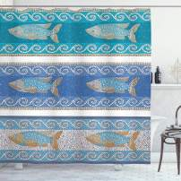 "Ambesonne Mosaic Shower Curtain, Style Byzantine Ceramics Inspired Maritime Fractal Fish Pattern Artwork, Cloth Fabric Bathroom Decor Set with Hooks, 84"" Long Extra, Slate Blue"