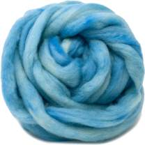 Wool Roving Hand Dyed. Super Soft BFL Combed Top Pre-Drafted for Easy Hand Spinning. Artisanal Craft Fiber ideal for Felting, Weaving, Wall Hangings and Embellishments. 4 Ounce. Baby Blue