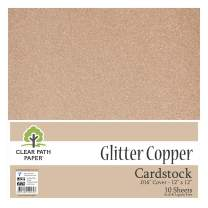 "Glitter Copper Cardstock - 12 x 12 inch - .016"" Thick - 10 Sheets"