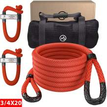 """Miolle 3/4"""" x 20' Kinetic Recovery & Tow Rope, Red (19200lbs), with 2 Soft Shackles 5/16' x 6' (20700 lbs) Great for Your Car, Truck, SUV, Jeep, ATV, UTV, Or Snowmobile"""