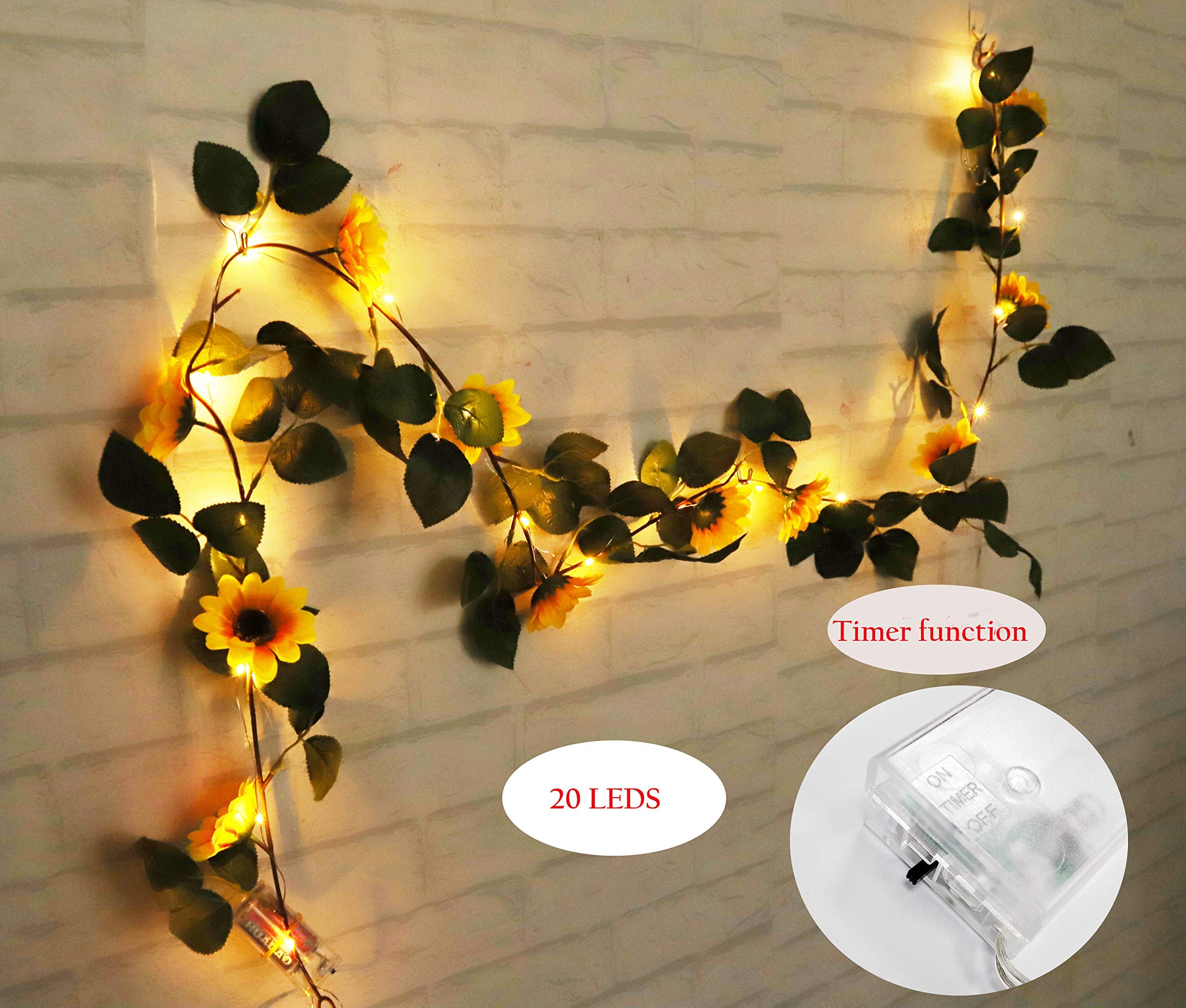 FLCSIed 2 AA Batteries Powered 20 LED Silver String Fairy Lights with Sunflowers and Timer Function, Warm White