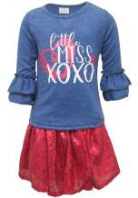 Unique Baby Girls Little Miss Sequin Skirt Valentines Day Outfit