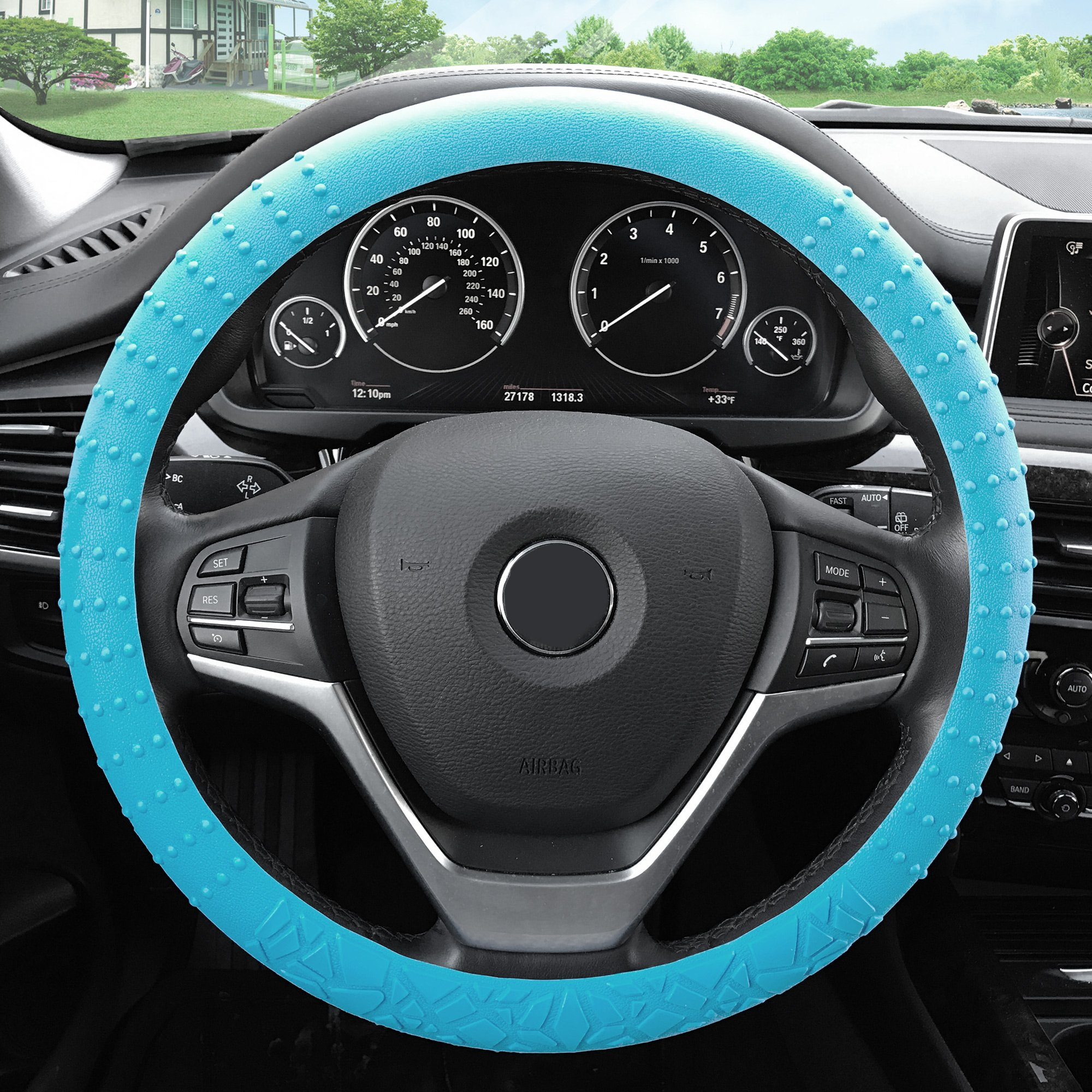 FH Group FH3002LIGHTBLUE Light Blue Steering Wheel Cover (Silicone W. Nibs & Pattern Massaging grip Wheel Cover Color -Fit Most Car Truck Suv or Van)