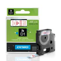 DYMO Standard D1 Labeling Tape for LabelManager Label Makers, Red print on Clear tape, 1/2'' W x 23' L, 1 cartridge (45012)