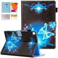 Dteck Case for iPad 10.2 2019 7th Generation - Slim Multiple Viewing Angles Stand Premium Leather Wallet Case with Auto Wake/Sleep & Pencil Holder Shockproof Smart Protective Cover, Blue Butterfly