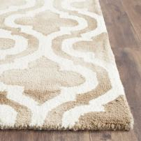 Safavieh Dip Dye Collection DDY537G Handmade Geometric Moroccan Watercolor Beige and Ivory Wool Area Rug (2' x 3')