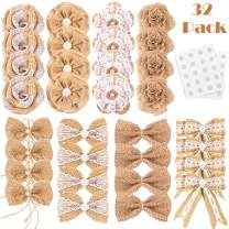 Whaline 32Pcs Burlap Flowers and Burlap Bowknots Set, Including Vintage Burlap Rose Flowers, Jute Twine Burlap Flowers, Pearl Burlap Flowers, Bowknots, 8 Styles for DIY Craft Wedding Party Gift Decor