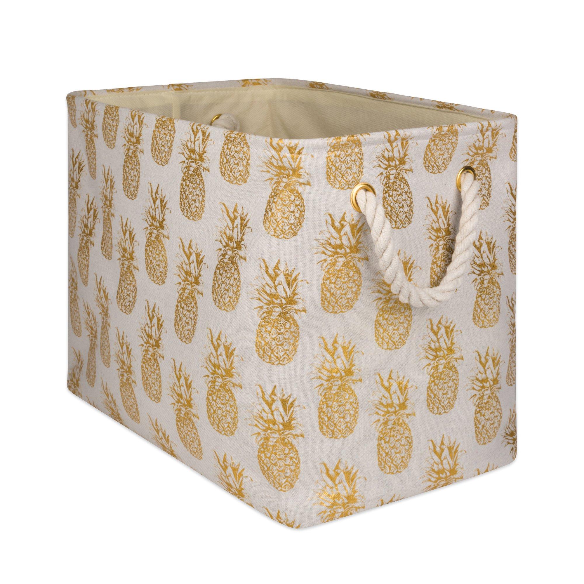 "DII CAMZ10364 Polyester Storage Bins, 18x12x15"", Pineapple"