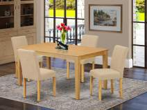 """East West Furniture CAAB5-OAK-04 5Pc Rectangle 60"""" Dining Room Table And 4 Parson Chair With Oak Leg And Linen Fabric Light Fawn, 5"""