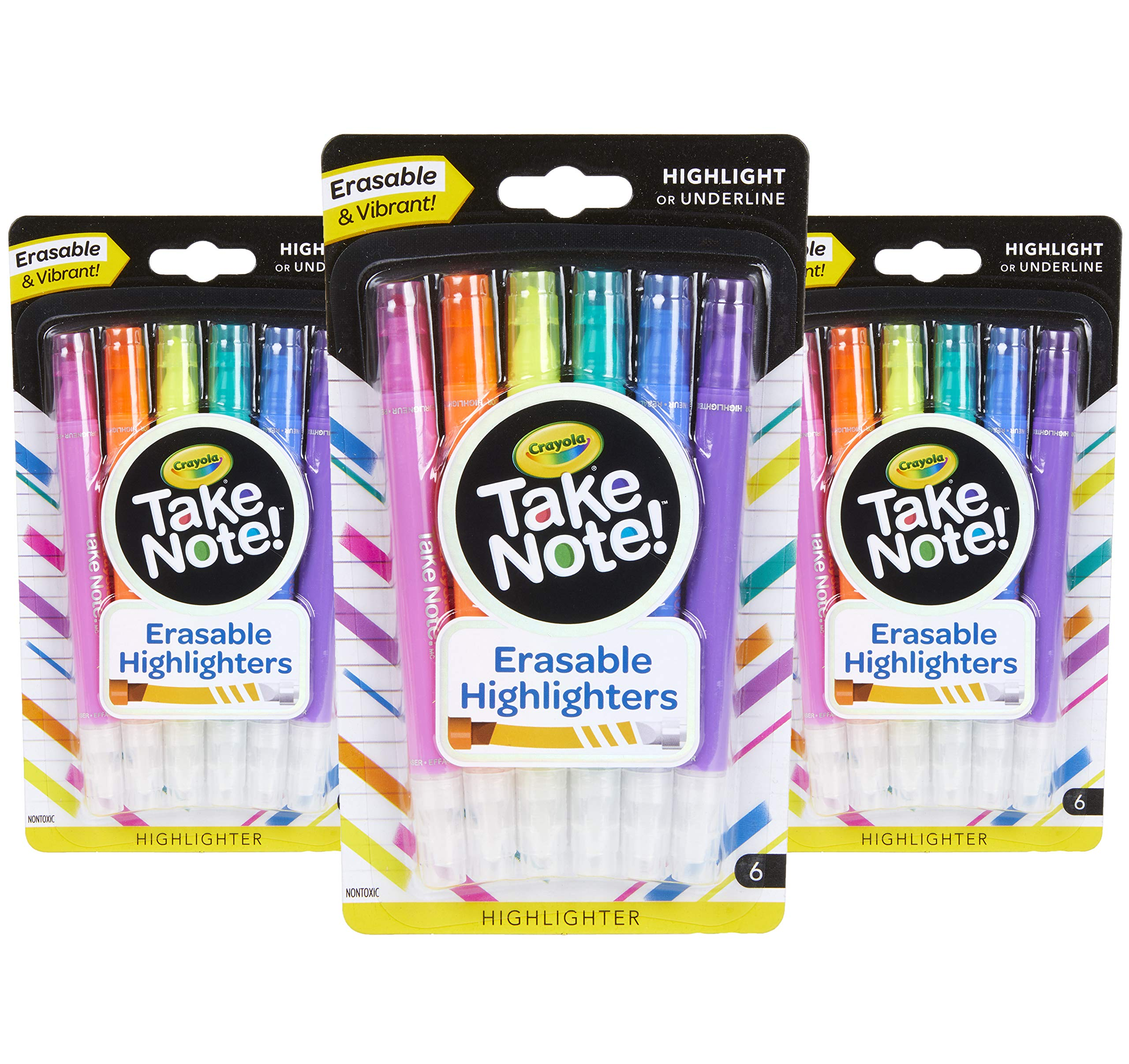 Crayola Take Note Erasable Highlighters, School Supplies, Kids at Home Activities, 18 Count