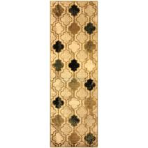 "Superior Modern Viking Collection Area Rug, 10mm Pile Height with Jute Backing, Chic Textured Geometric Trellis Pattern, Anti-Static, Water-Repellent Rugs - Cream, 2'7"" x 8' Runner"