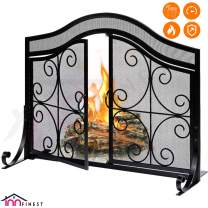"""Fireplace Screen with 2 Doors - Large Flat Spark Guard Fire Screens - Outdoor Metal Decorative Mesh Cover - Baby Safe Proof Wrought Iron Fire Place Panels - Wood Burning Stove Black (35.5"""" L x 31"""" H)"""