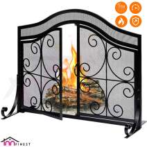 "Fireplace Screen with 2 Doors - Large Flat Spark Guard Fire Screens - Outdoor Metal Decorative Mesh Cover - Baby Safe Proof Wrought Iron Fire Place Panels - Wood Burning Stove Black (35.5"" L x 31"" H)"