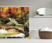 "Ambesonne Waterfall Shower Curtain, Autumn Seasonal Woodland Creek Trees Foliage Rocks in Forest Image, Cloth Fabric Bathroom Decor Set with Hooks, 84"" Long Extra, Brown Orange"