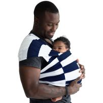 Baby K'tan Print Baby Wrap Carrier, Infant and Child Sling-Navy Stripe, Women up to 0 (XX-Small). Newborn up to 35 Pound Best for Babywearing.