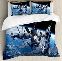 Ambesonne Outer Space Duvet Cover Set, Space Shuttle and Station View Cosmonaut Adventure on Myst Globe Orbit Off, Decorative 3 Piece Bedding Set with 2 Pillow Shams, King Size, Blue Grey