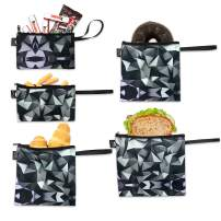 Nordic By Nature Reusable Sandwich Bag Snack Bags - Value Pack of 5 Dual Layer Lunch Baggies - Dishwasher Safe - Eco Friendly Cloth Wraps - Easy Open Zipper For Kids (Black Mosaic)