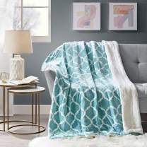 Comfort Spaces Sherpa for Couch and Bed, Plush Fleece Reversible Throw-Blanket with Fuzzy Faux FurThrows, 50x60, Aqua Ogee