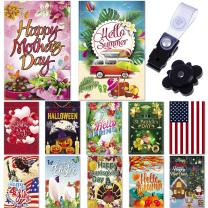 """Season Garden Flags - Set of 12 Garden Flags - Double Sided Outdoor Holidays Yard Flags - Made of Polyester with Anti-Wind Clip & Rubber Stopper Included – Holidays Flags for 12 Months - 12""""x18"""" Size"""