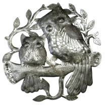 "Global Crafts 24"" Recycled Handmade Haitian Metal Wall Art Bird Motif, Pair of Owls"