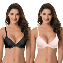 Curve Muse Women's Plus Size Full Coverage Padded Underwire Bra-1 or 2PK