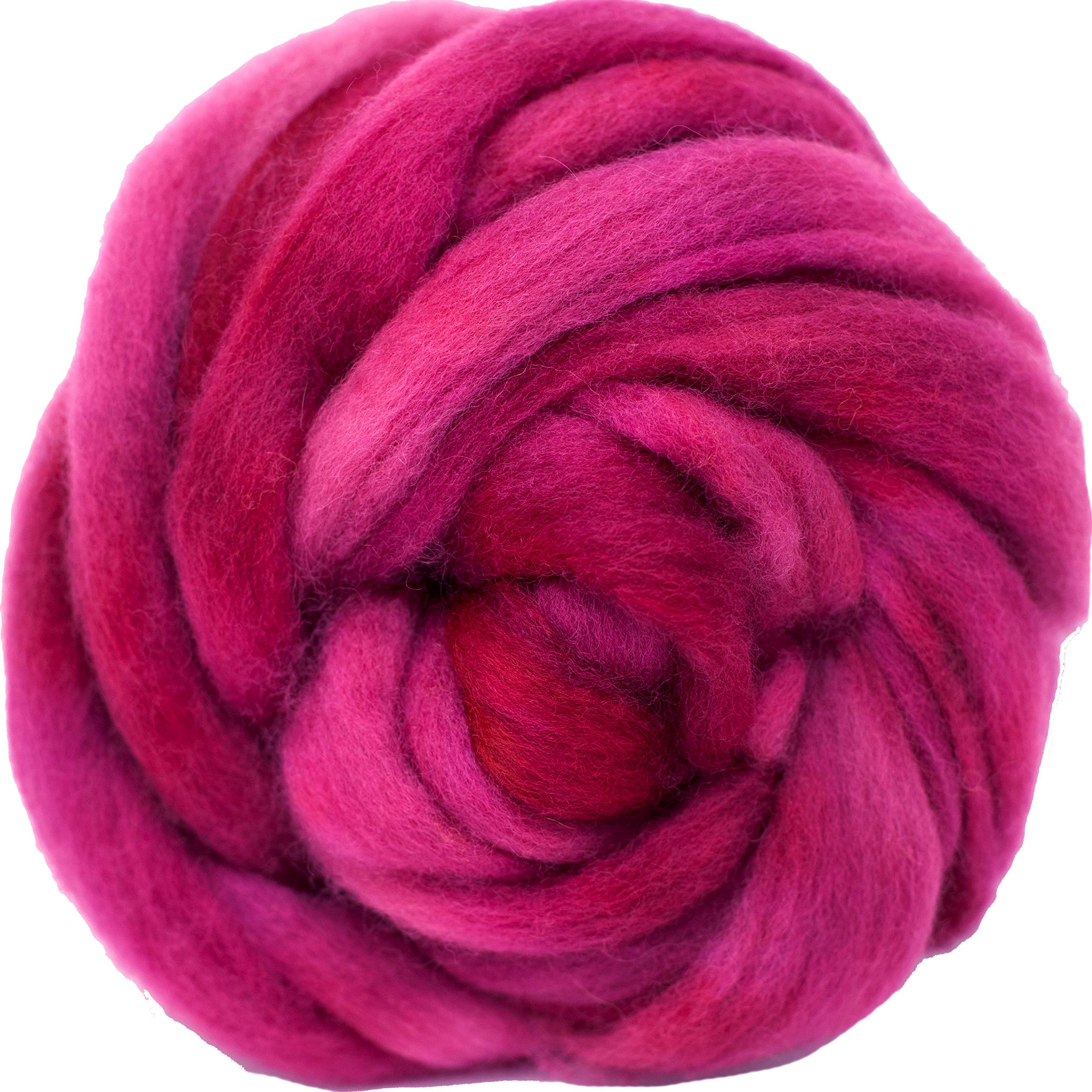 Wool Roving Hand Dyed. Super Soft BFL Combed Top Pre-Drafted for Easy Hand Spinning. Artisanal Craft Fiber ideal for Felting, Weaving, Wall Hangings and Embellishments. 1 Ounce. Cherry
