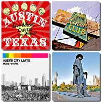 EXIT82ART - Stone Drink Coasters (Set of 4) - Austin, Texas - Live Music Themed. Tumbled Stone, Cork-Backed.