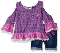 U.S. Polo Assn. Girls' Fashion Top and Short Set