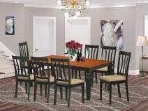 East West Furniture LGAN9-BCH-C 9 Pc Room Set Table and 8 Dining Chairs in Black and Cherry