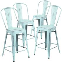 Flash Furniture 4 Pk. 24'' High Distressed Green-Blue Metal Indoor-Outdoor Counter Height Stool with Back