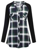 Ouncuty Womens Plaid Flannel Shirts Long Sleeve V Neck Casual Work Tunic Blouses
