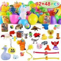 "60 Packs Toys Pre Filled Easter Eggs Combo Set includes 12 3.25"" Eggs and 48 2.25"" Eggs, Bright Colors Easter Eggs for Easter Basket Stuffers, Easter Party Favors, Easter Egg Hunt, Classroom Events"