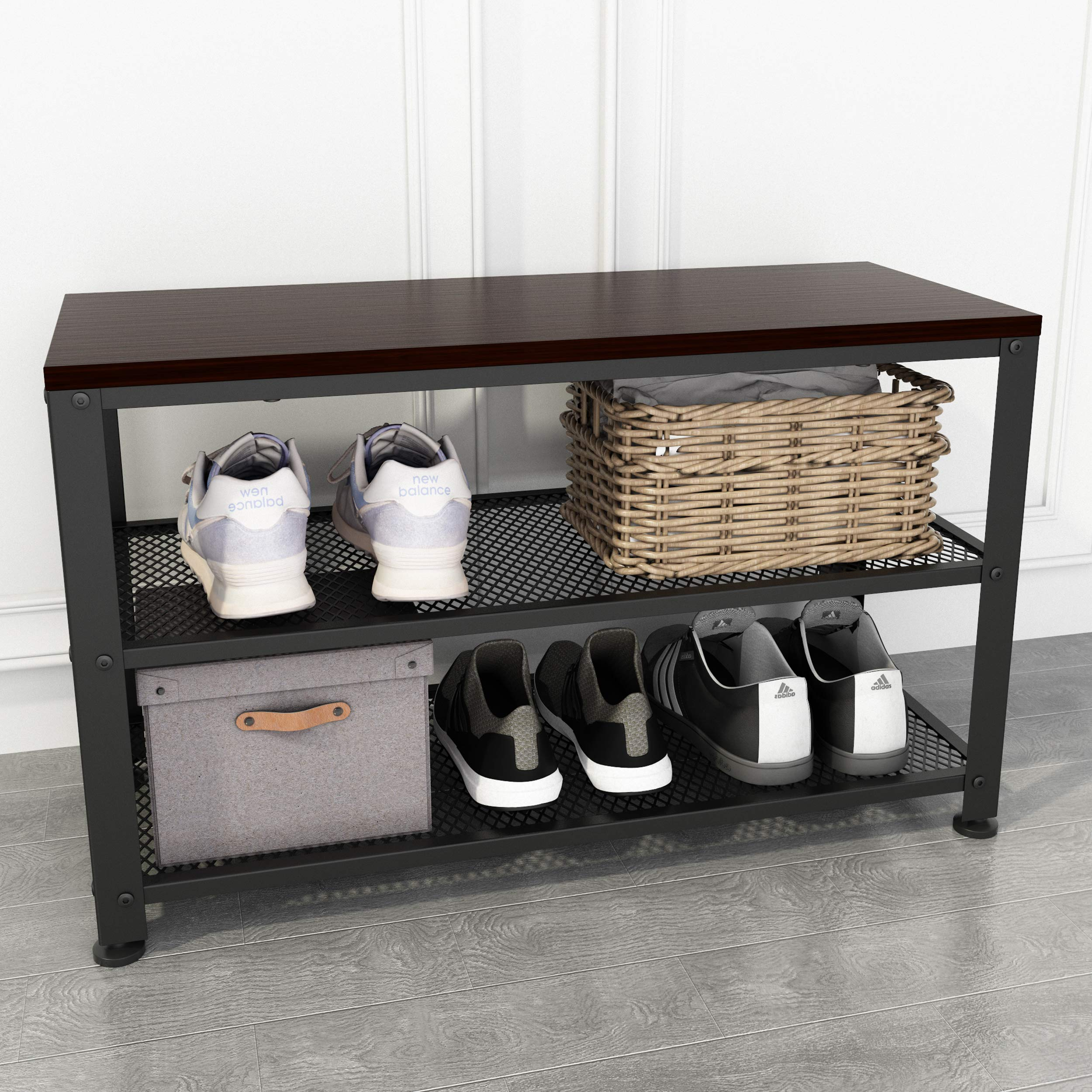 Simpdiy Sturdy Shoe Bench Storage Bench 2 Tier Shoe Rack With Seat Industrial Shoe Bench For Small Spaces Entryway Foyer Hallway Black Walnut Finish
