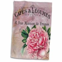 3D Rose French Vintage Pink Peony Botanical Hand/Sports Towel, 15 x 22, Multicolor