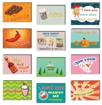 Creanoso Food and Drinks Comedic Postcards (36-Pack) – Assorted Card Stock Bulk Set – Premium Quality Greeting Cards Stock – Funny and Cool Gift Tokens for Men Women Adults Employees