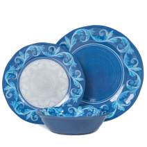 Melamine Plates and Bowls Set - 12pcs Dishes Dinnerware Set for 4, Dishwasher Safe, Blue