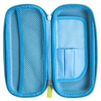 Yoobi Small Pencil Case - Blue | Hard Shell Protective Case w/Zipper Closure | Interior Compartments w/ 1 Mesh Pocket | Organize School & Office Supplies, Small Blue (15ADXFAAAA)