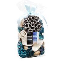 Qingbei Rina Ocean Scent Summer Potpourri Bag Decorative Perfume Sachet, Rattan Balls Lotus Pods Pine Cones Dried Flowers and Plants, Volume of 60 Oz Blue Orange Red Pink Purple (Blue)