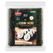Best of Thailand Organic Sushi Nori Seaweed Sheets   Premium Roasted Kosher Korean Seaweed   Resealable Bulk Bag 50 Full Nori Sheets for Sushi   Non-GMO Vegan Dried Seaweed   All-Natural Keto-Friendly