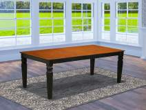 East West Furniture LGT-BCH-T Logan Dining Table - Cherry Table Top Surface and Black Finish stylish 4 Legs Solid wood Rectangle Dining Table