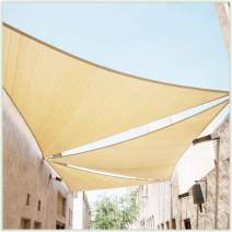 ColourTree CTAPT14 Custom Size Order to Make 4' x 4' x 4' Beige Triangle Sun Shade Sail Canopy Mesh Fabric UV Block - Commercial Heavy Duty - 190 GSM - 3 Years Warranty