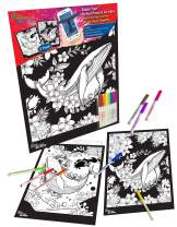 New Generation GO Alive - Whale - 2 Pack 11x15 inch Velvet Posters Coloring Set, Fun Time with Velvet Art Fuzzy Posters Included with 8/pc Washable Markers