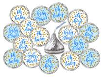 324 Blue Oh Baby Boy Kisses Labels For Baby Shower Or Baby Sprinkle Party Or Event, Its a Boy Kisses Stickers, Wrappers, Favors. Gold and White