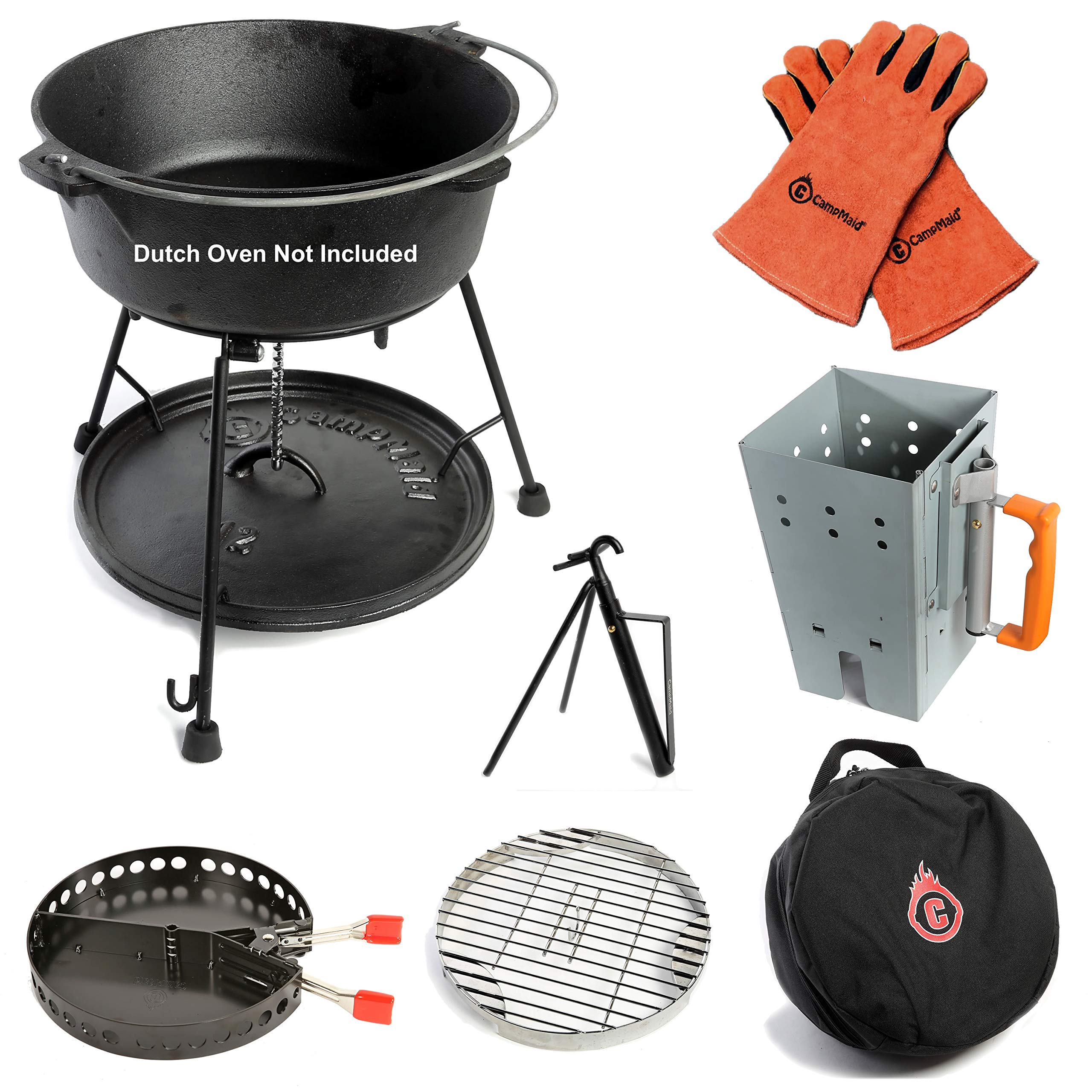 7-Piece Dutch Oven Tool Set – Award Winning Accessories Turn Your Cast Iron Pots Into a Grill, Smoker and Griddle – Lid Lifter, Charcoal Holder, Lid Stand, Charcoal Chimney, Trivet, Carry Case by CampMaid