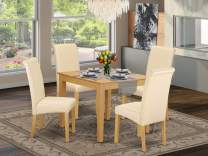 5Pc Square table with linen beige fabric kitchen chairs with oak chair legs