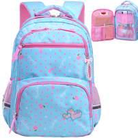 Water Resistant Girls Backpack for Primary Elementary School Large Kids Bookbag Laptop Bag (Large, Style 1 - Sky Blue)