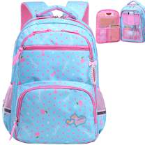 Water Resistant Girls Backpack for Primary Elementary School Large Kids Bookbag Laptop Bag (Small, Style 1 - Sky Blue)